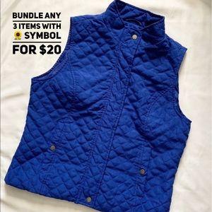 🌻Nine West Royal Blue Quilted Button Vest Large